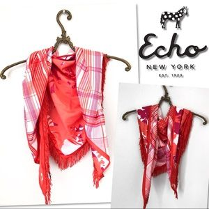 🆕 ECHO PINK PLAID FLORAL TRIANGLE SCARF